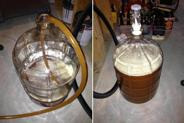 Siphoning (left) and fermenting (right)