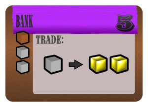 Bank costs 1 lumber and 2 stone. Can trade 1 stone for 2 gold.