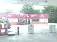 First pit stop for our crew, in Tonica, IL, where the gas station is over two miles off the freeway.