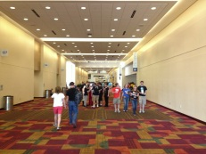 We arrived at GenCon and quickly approached the exhibit hall!