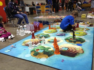 This sort of large map is a great way to get kids interested in board games!