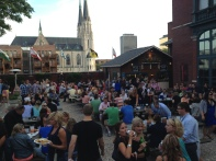 Der Rathskellar Biergarten. Big beers, live music, beautiful weather, and a crowd that is devoid of typical GenCon lurkers.