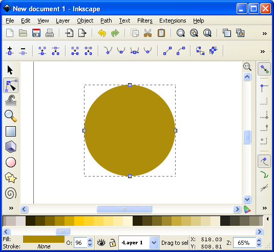 The dots around the circle are the nodes that we will edit.