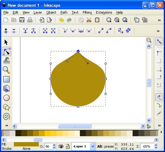 By editing the nodes we can make the circle look like a barley grain.