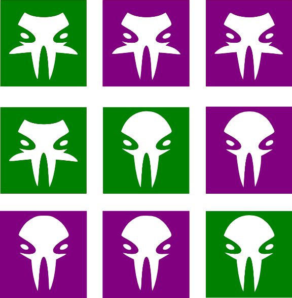 The Alien grid that must be eliminated! (icons from game-icons.net)