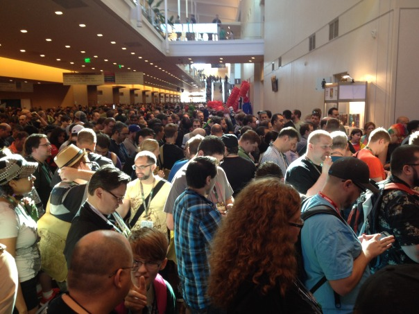 A lot of people were waiting for the exhibit hall to open.