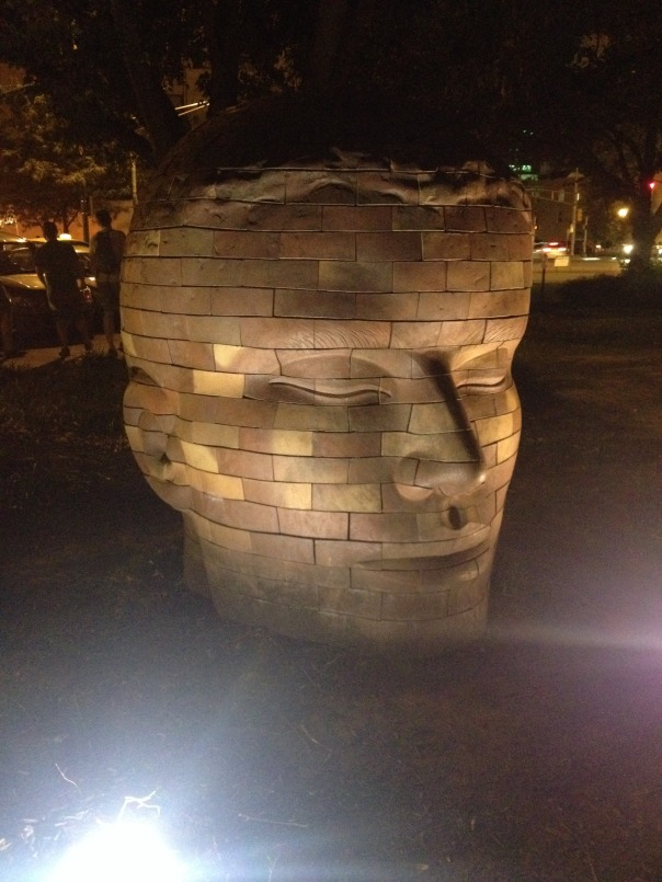 Saw this cool brick head on the way back from the Rathskellar.