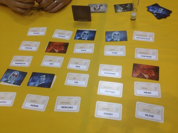I got to play Codenames with a bunch of awesome game designers in the open hall around midnight. Our team won. It's a clever game design and was a ton of fun.