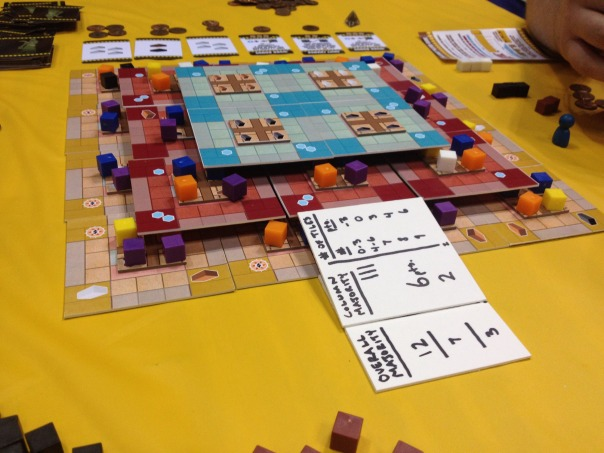 To end Friday I was able to get my game design, Ziggurat, on the table. The honorable Adam McIver, Kerry Rundle, and J. Alex Kevern were excellent playtesters.