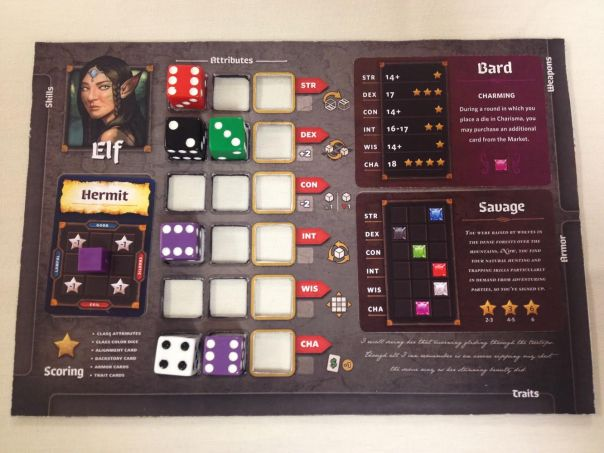 Elf character player board.
